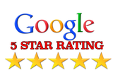 Picture of a Google 5 Star Rating logo with 5 gold stars.