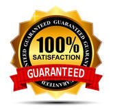 100% Satisfaction Guaranteed red a gold ribbon logo